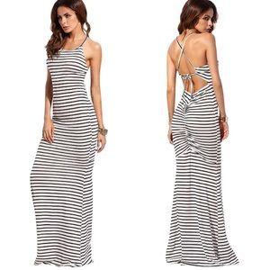 Open Ruched Back Stripe Bodycon Mermaid Dress