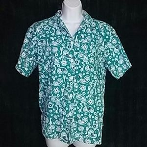 Orvis Tops - Vintage Orvis Turquoise Paisley Small Shirt