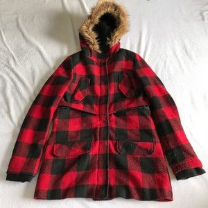 Material Girl plaid coat.