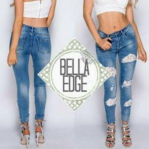 Bella Edge Denim - 🆕️ LACEY Crochet Lace Distressed Skinny Jeans