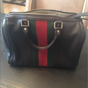 Brown pebbles leather Gucci Boston Web Bag