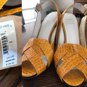 Saks Fifth Avenue Shoes - 🔥Saks 5th Avenue Marigold Yellow Heels