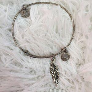 Alex And Ani Jewelry - Alex and Ani Feather Charm Bangle Bracelet