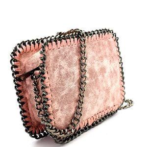 GlamVault Handbags - Pink Metallic Chain Whipstitch and Chain Crossbody