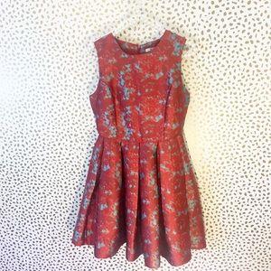 BB Dakota Dresses & Skirts - BB Dakota Red & Blue Pleated Fit & Flare Dress