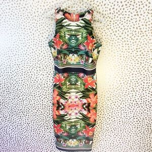 New York & Co Tropical Floral Neoprene Midi Dress