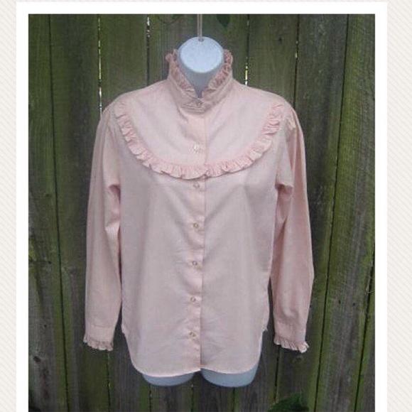 e6dbe9992d3be Vtg 80s Romantic Pink Ruffle Blouse High Neck S M.  M 594aa52113302a579600b706