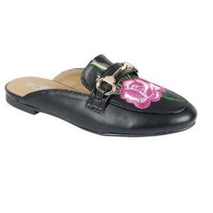 Shoes - Floral rose embroidered mules black pink gold