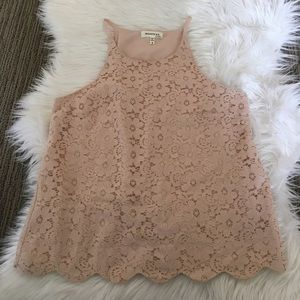 Scallop trimmed tank top
