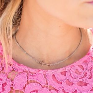 Ily Couture Jewelry - Silver Sideways Cross Necklace