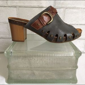 PIKOLINOS Shoes - Pikolinos Denim Blue and Brown Leather Clogs