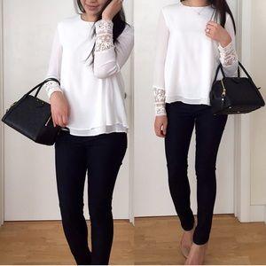 Zara Tops - Zara Lace Sleeve Blouse, size XS