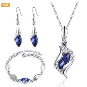 3 pc Blue Ice Angel Jewelry Set