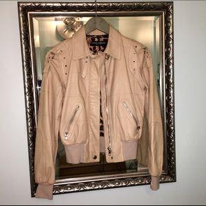 曆 Dolce & Gabbana Leather Bomber Jacket 曆 IT 40