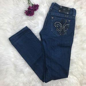 Miss Me Fleur De Lis Straight Leg Dark Blue Jeans