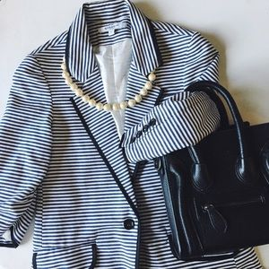 • givenchy • paris navy and white striped blazer