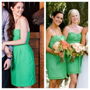 Shoshanna Green Eyelet Strapless Dress Sz 4