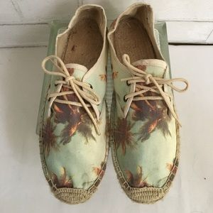 Soludos Shoes - Soludos Palm Tree Print Lace Up Espadrilles