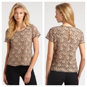 Joie marcelline cream lace top short sleeve