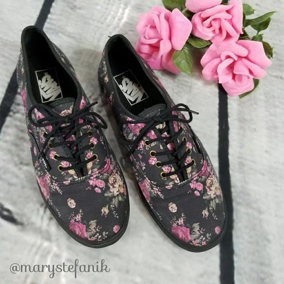 ab841949b9497b Vans Lo Pro Floral Black with Purple Pink Roses 8.  M 594aaecbc28456c2df07b3b0