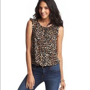 LOFT Leopard spots ruffle shoulder shell Blouse