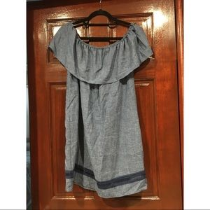 Zara Off the Shoulder Denim Dress