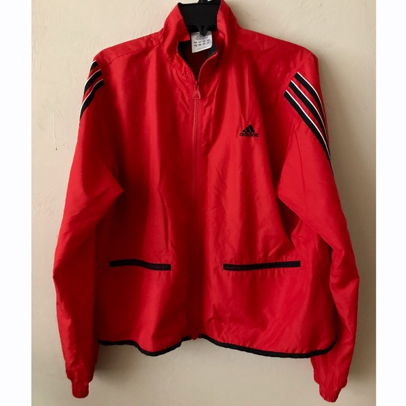 a1e4ca39b2a1 adidas Jackets   Blazers - SALE  Adidas Red Windbreaker 3 Stripe Track  Jacket