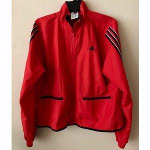 adidas Jackets & Blazers - Adidas Red Windbreaker 3 Stripe Gym Track Jacket