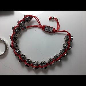 King Baby Studio Jewelry - KING BABY - Red Macrame Braclet w/ alloy roses