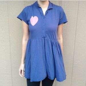 Rare Wildfox Button Up Heart Dress with Bow