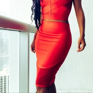 WOW couture Dresses & Skirts - Wow Couture Red Mesh Tight Stretch Bandage Skirt