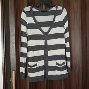 Grey and White Striped Boyfriend Cardigan