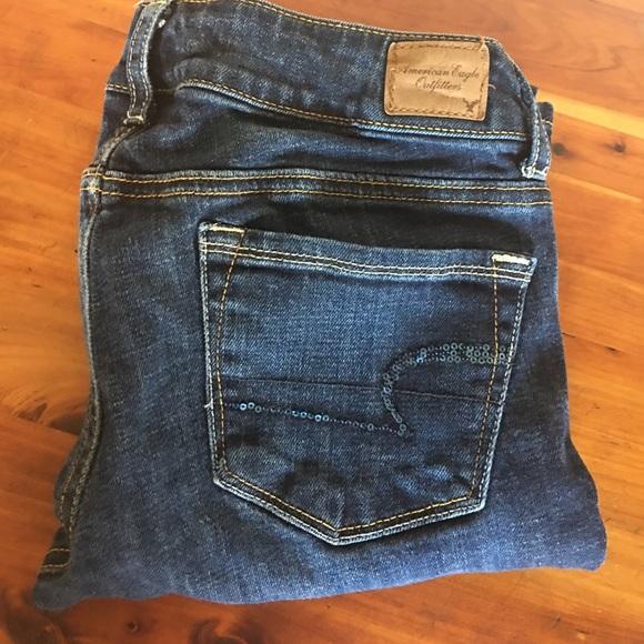 American Eagle Outfitters Jeans - Sequined pocket skinny kick jeans