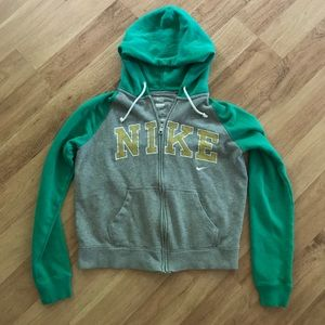 Nike Jackets & Blazers - Nike Hooded Gray and Green Zip Up Jacket Size M