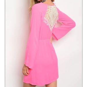 Sage Dresses & Skirts - Hot Pink Back Lace Dress