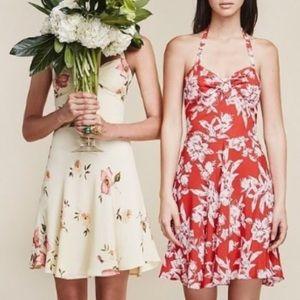 Reformation Red Floral Print Halter Dress Size 4
