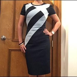 Karen Millen Dresses & Skirts - Karen Millen blue stretch geometric dress WornOnce