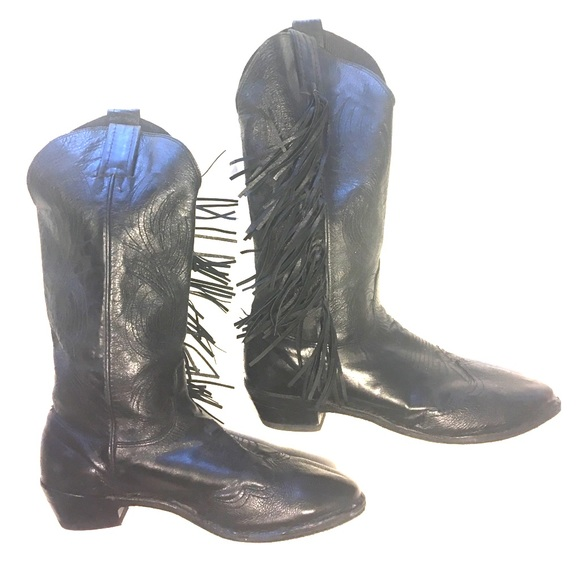 long life vintage black leather fringe cowboy boots from. Black Bedroom Furniture Sets. Home Design Ideas