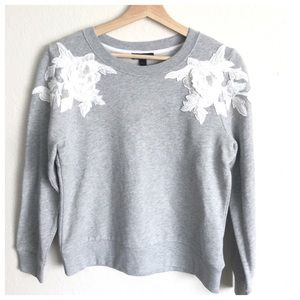 J. Crew Tops - J. Crew Gray White Floral Appliqué Sweatshirt