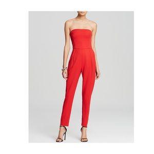 Black Halo Pants - Black Halo Red  Iris strapless Jumpsuit NWT