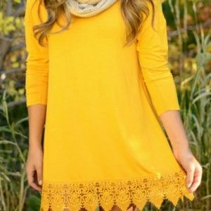 OASAP Dresses & Skirts - NWT Yellow Crochet Lace Hem Dress