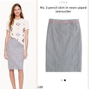 J.Crew No.2 Pencil Skirt/Neon Trim Seersucker sz 2
