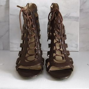 Guess Gladiator Style Brown Heels