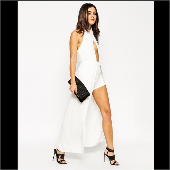 5c585f6f7738 ASOS Occasion Maxi Romper with Wrap over High Neck