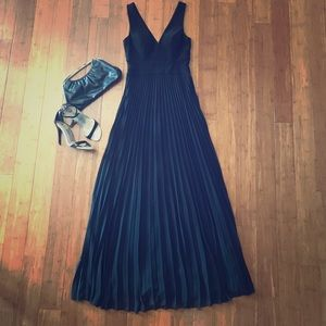 Xscape Dresses & Skirts - Xscape Pleated Gown w/ Peekaboo Mesh Accents - Blk