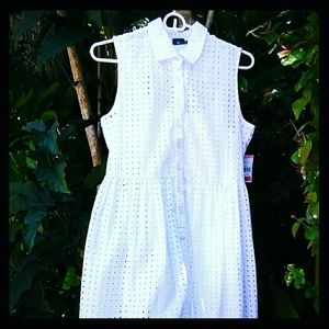 Cool Fresh Cotton Eyelet Fabric Dress