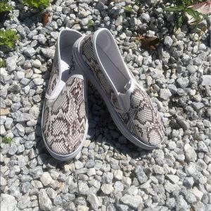 Shoes - LEATHERETTE SNAKE PRIN SLIP ON SNEAKERS