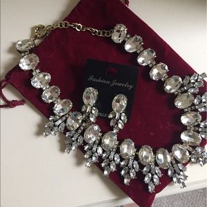 CZ Bib necklace and matching earrings.