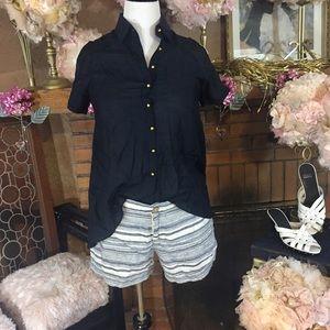 Artisan Ny Pants - Artisan NY linen shorts; Antilia Femme navy top
