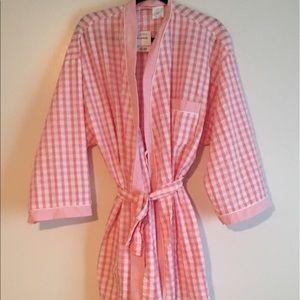 Adonna Other - Adonna X-Large Pink & White Gingam Cotton Robe